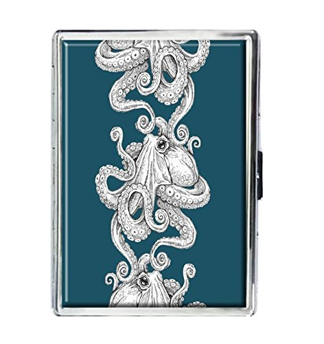 - Kraken Octopus Design Stainless Steel ID Cigarettes Case Holder Stylish Credit Card Wallet