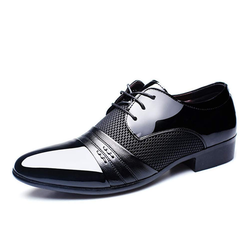 Men Oxford Shoes Breathable Low Top Pointed Toe Flat Business Formal Shoes