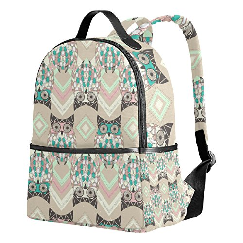 COOSUN Cute Owl Muster mit Native Elements Lightweight Canvas Kinder Schulrucksack Buch Tasche für Jungen Mädchen Xv2A0