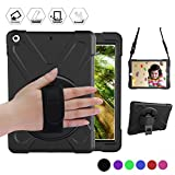 New iPad 9.7 2018 / 2017 Case ,360 Degree Rotatable Handle Stand Hardstrap Layer Shockproof Dropproof Hybrid Heavy Duty Skin W/ Kickstand shoulder harness for iPad 9.7'' 2017 A1822 A1823,Black