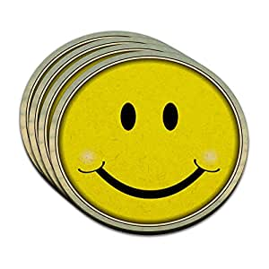 Happy Smiley Face MDF Wood Coaster Set of 4