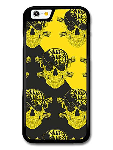 Bad Ass Skulls with Lightning and Cross Guns on Black and Yellow coque pour iPhone 6 6S