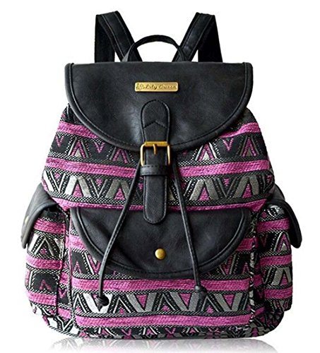Top Shop Women's Print Canvas Pu Leather Drawstring Bucket Bag School Backpack Purple Travel bag (Party Shops Brighton)