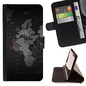 KingStore / Leather Etui en cuir / Samsung Galaxy A3 / Mapa del mundo