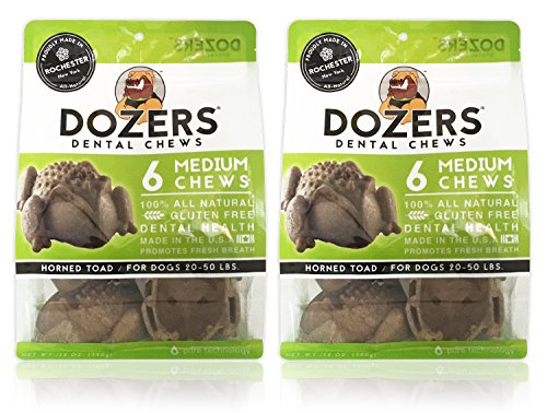 Dozers Dental Dog Chews - 100% All Natural Ingredients - Gluten Free Dental Healthy Delicious Dog Treat - Promotes Fresh Breath (Toad Medium, 2 Bags) (Best Small Dozer For The Money)