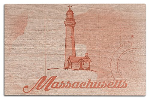 Massachusetts - Lighthouse - Coral - Coastal Icon (12x18 Wood Wall Sign, Wall Decor Ready to Hang) Massachusetts Lighthouse