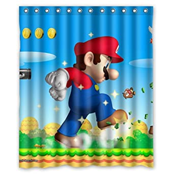 Image Unavailable Not Available For Color Super Mario Bros Custom Waterproof Shower Curtain