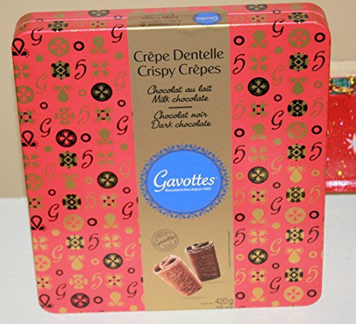 Large Holiday Red Gift Tin of Assorted Gavottes Crispy Lace Crepes Dentelle From France - Assortement of Crepe Covered in Dark Chocolate and Milk Chocolate - 420 grams (Tin Red Gift)