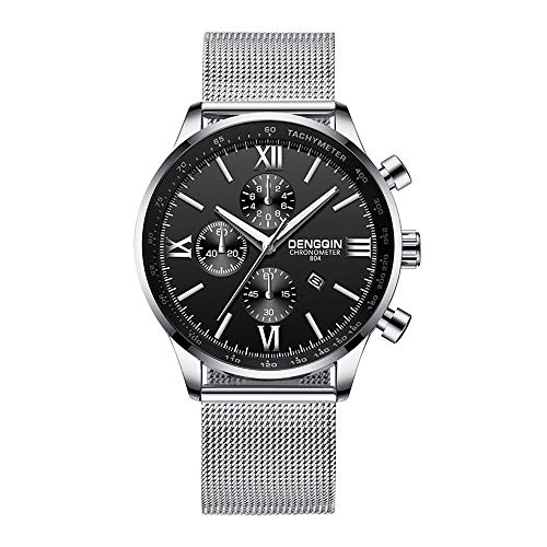 Mens Simple Watch Analog Quartz Stainless Steel Mesh Band Dial Casual Wrist Watches for Men (D-1)