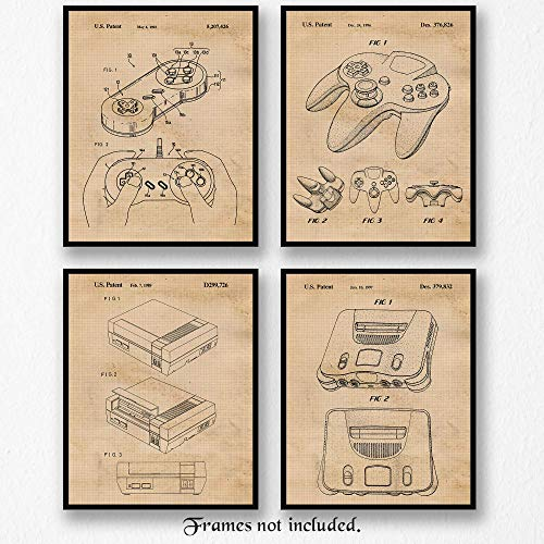 Original Nintendo Video Games Patent Art Poster Prints - Set of 4 (Four) Photos - 8x10 Unframed - Great Wall Art Decor Gifts for Gamer, Game Room, Man Cave, Garage, Office