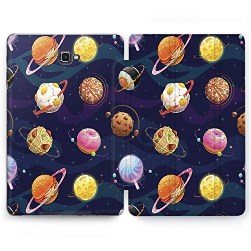 Wonder Wild Food Universe Samsung Galaxy Tab S4 S2 S3 Smart Stand Case 2015 2016 2017 2018 Tablet Cover 8 9.6 9.7 10 10.1 10.5 Inch Clear Design Infinity Cartoon Drawn Meatball Chocolate Donuts Eat]()