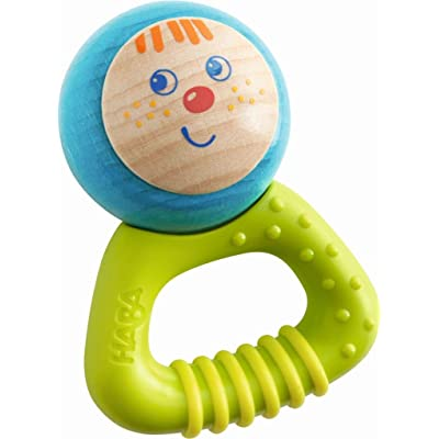 HABA Musical Character Bella - Jingling Rattle, Clutching Toy and Teether with Friendly Wooden Face and Plastic Teething Handle (Made in Germany): Toys & Games