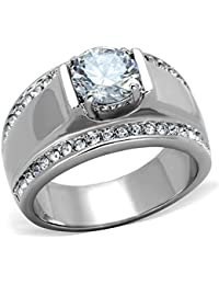 MEN'S 2.25 CT ROUND CUT Cubic Zirconia, Silver STAINLESS STEEL RING SIZES 8-13