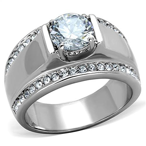 MEN'S 2.25 CT ROUND CUT Cubic Zirconia, Silver STAINLESS STEEL RING Size 8