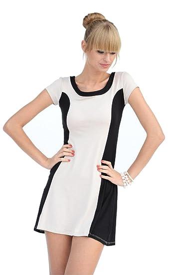 Damen Basic Minikleid Kleid Kurz Mini Dress Cocktailkleid Abendkleid Strechkleid