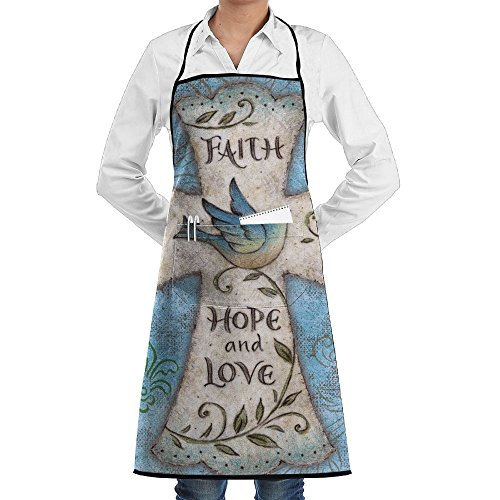 Hope And Love Religious Cross Easter Faith Bib Apron With Pockets Men & Women Kitchen Apron For Cooking For Cooking,Baking,Crafting,Gardening,BBQ-Gray by TRENDCAT