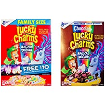 Lucky Charms Chocolate Whole Grain Cereal with Magical Unicorn Marshmallows (12 oz) Bundle with Gluten Free Breakfast Cereal Family Size (19.3 oz)  LIMITED EDITION   Free Ticketmaster Ticket Cash Code