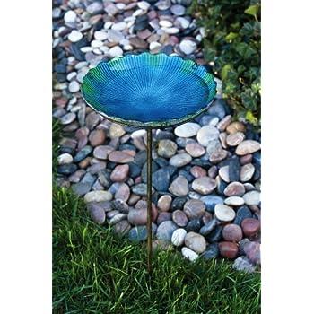 "Evergreen Blue Sea Glass Bird Bath with Metal Stake - 11""L x 11""W x 26.75""H"