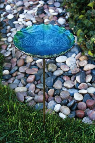 """Evergreen Blue and Green Scalloped Glass Bird Bath Bowl with Metal Stake - 11""""L x 11""""W x 26.75""""H"""