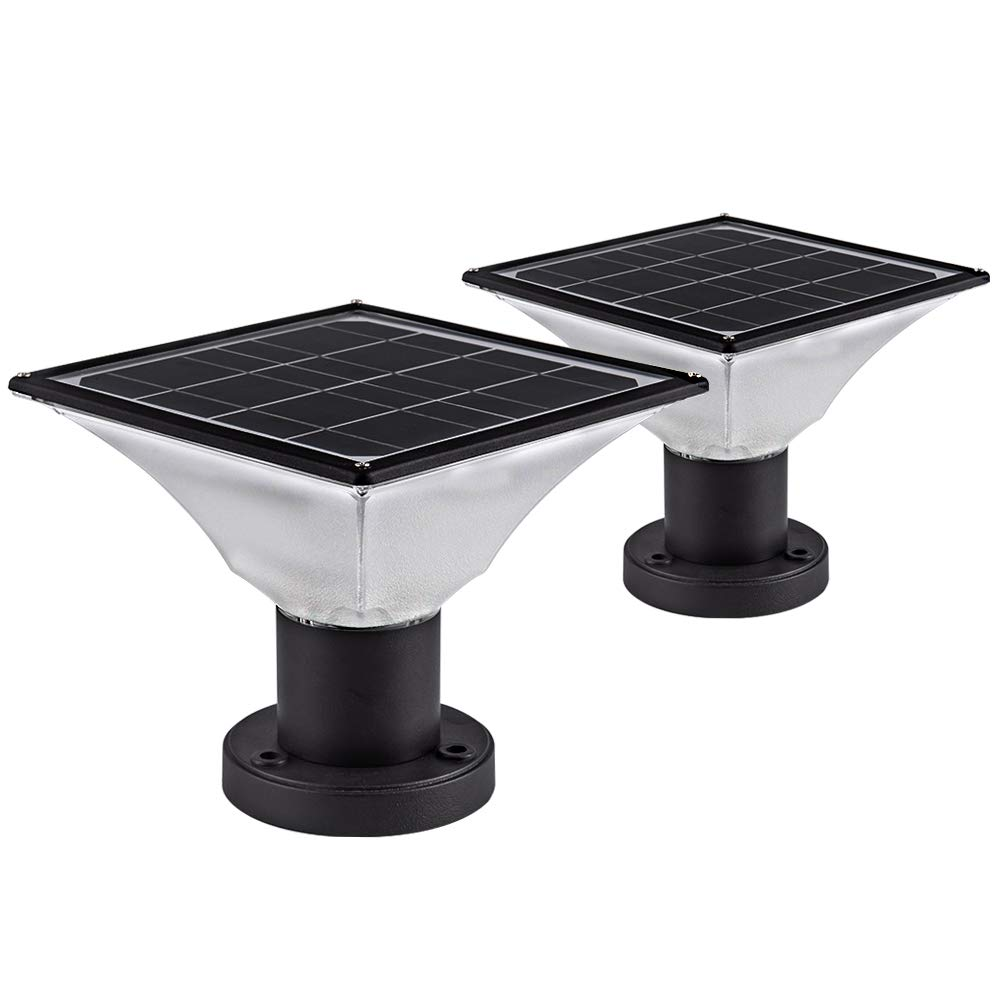 Solar Post Cap Lights Outdoor,Dusk to Dawn Auto On/Off Solar Powered Post Lights Fits Most Posts (2 Pack) by Infinilights