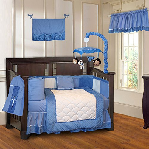 BabyFad Minky Blue 10 Piece Baby Crib Bedding Set ()