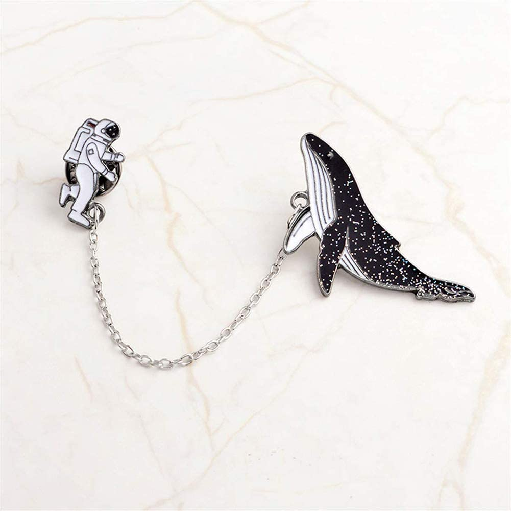 SET OF 2 CHAIN LINKED PIN BADGES  WHALE /& ASTRONAUT METAL