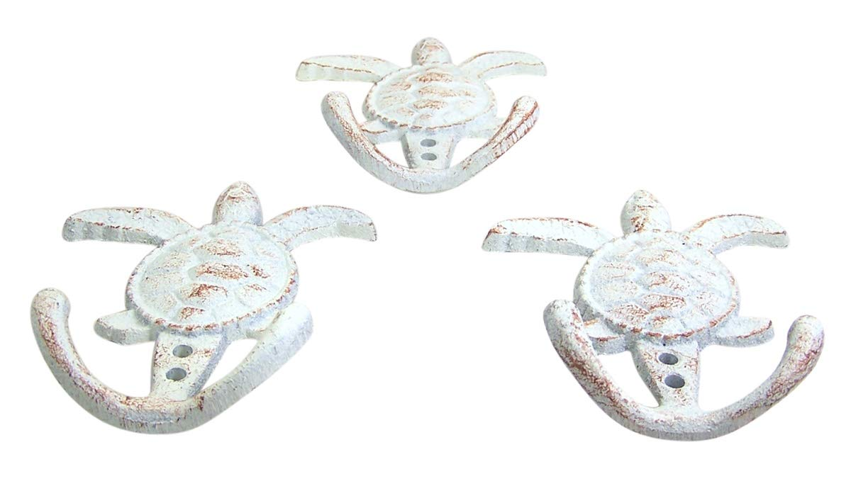 Cast Iron Nautical Hand Painted Turtle Towel Hook Coat Rack Holder