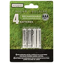 Moonrays 97126 350mAh NiCd AAA Rechargeable Solar Batteries, 4 Pack