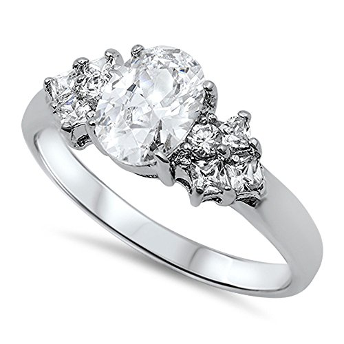 Elegant Solitaire (Clear CZ Oval Solitaire Elegant Ring New .925 Sterling Silver Band Size 7)