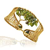 Handmade Gold-Plated Tree of Life Gemstone Adjustable Cuff Bracelet, Many Colors Available