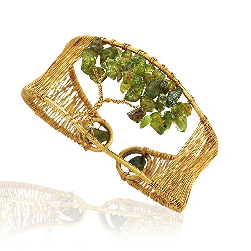 Chuvora Handmade Gold-Plated Eternal Tree of Life Green Peridot Gemstone Bead Adjustable Cuff Bracelet