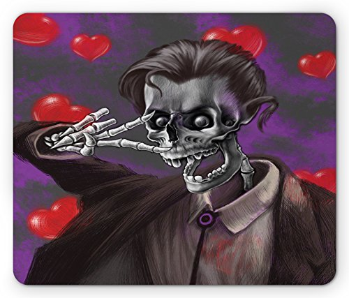 Ambesonne Skull Mouse Pad, Romantic Skeleton Handsome Corpse Groom with Tuxedo Hearts in the Backdrop Print, Standard Size Rectangle Non-Slip Rubber Mousepad, Black and (Corpse Groom)