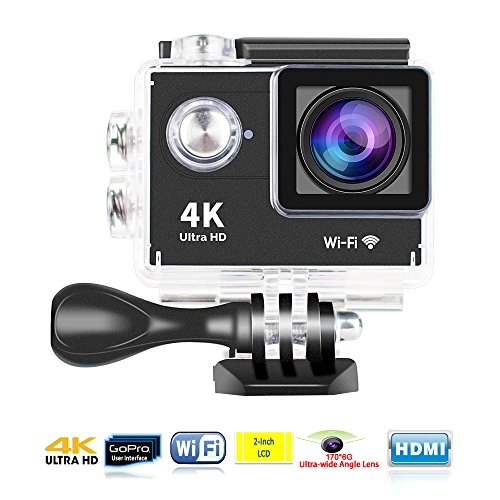 Yuntab Action Camera Sport DV 720P Mini 30-Meter Waterproof 2 inch TFT LCD HD 5MP Helmet Camera Cam Extreme Action Camcorder with Battery, Charger and Accessories (H9-Black-WiFi`)