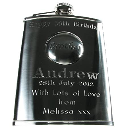 Brothers 40th Birthday Gift Stainless Steel Engraved Hip Flask With Solid Pewter Brother Feature Mens Gifts Amazoncouk Kitchen Home