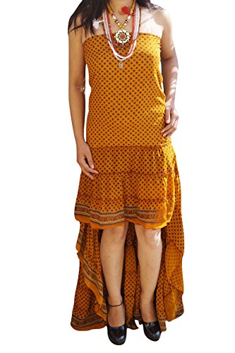 Womens Ruffle Flare Hi Low Dress Recycled Silk Lost In A Dream Strapless Fishtail Swirling Sundress (Yellow) (Swirl Silk Skirt)