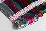 LE PAON 8m Metallic Embroidery Floss 24 Skeins All Purpose Assorted Mix Colours Cross Stitch Tread Set for Craft Needlework Hand Embroidery Bracelets