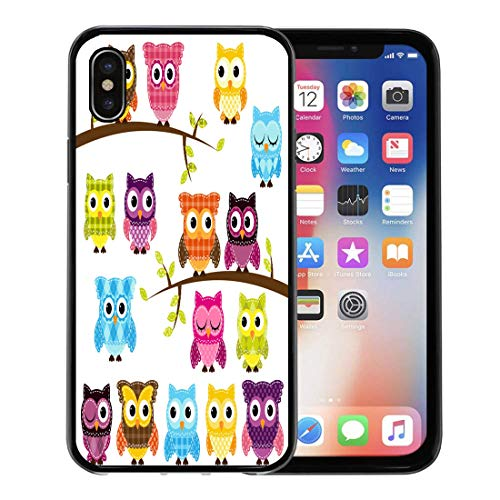 (Emvency Phone Case for Apple iPhone Xs Case/iPhone X Case,Pattern Doll of Patchwork Quilt Owls and Branches Patches Soft Rubber Border Decorative, Black)