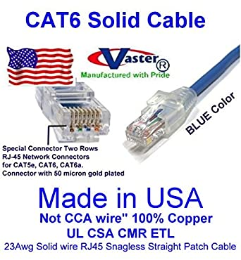 23Awg Solid Wire RJ45 Snagless Straight Patch Cable Made in USA UL CSA CMR ETL Not CCA Wire 100/% Copper Vaster SKU -81970-48 Ft Cat6 Patch Cable Blue