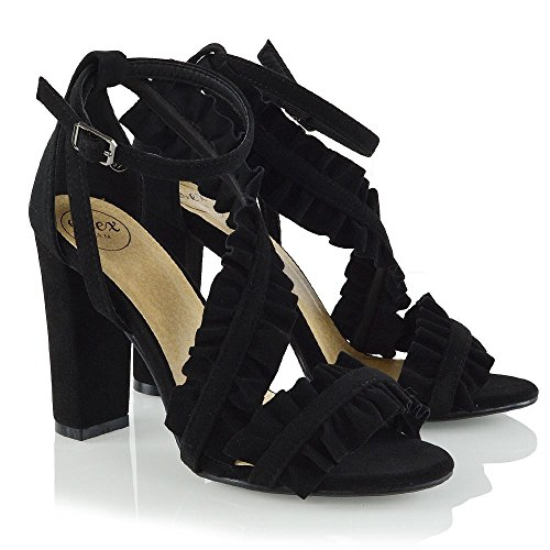 Ankle Ruffle Heels GLAM Shoes Faux Black Suede ESSEX Evening Strap Peep Toe Womens Strap Chunky Heel Ruched E0nRq