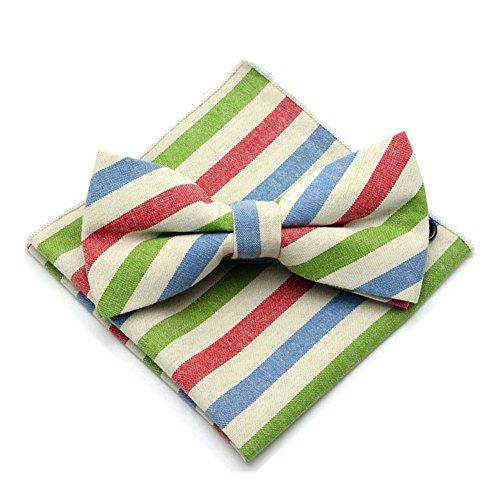 Secdtie Men Green Beige Red Blue Bow Tie Set Pre Tied Casual Neck Tie Bowties (Breasted Bow Tie)