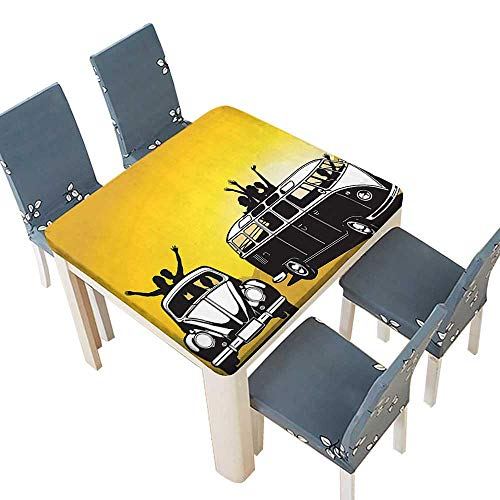 - PINAFORE Polyester Cloth Fabric Cover Collection Traveling in The Sixties Hippy Car Transport Vehicle Hitchhiking Daring Camping Decorative Tablecloths Kitchen Room 45 x 45 INCH (Elastic Edge)