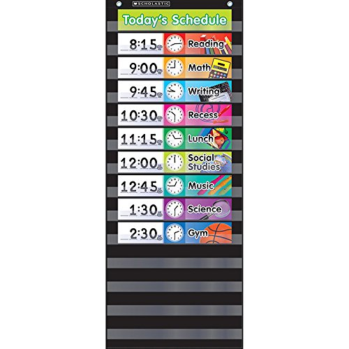 Scholastic Classroom Resources Pocket Chart Daily Schedule, Black (SC583865), Model:SC583865, Office Accessories & Supply Shop