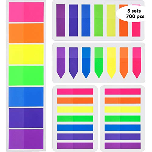 Flags Index Tabs Sticky Page Markers 700 pcs Adhesive Flag Tabs Rainbow Transparent Cute Sticky Notes Writable Labels 7 Colors for Binders, Files, Folders, Documents, Planners by ()