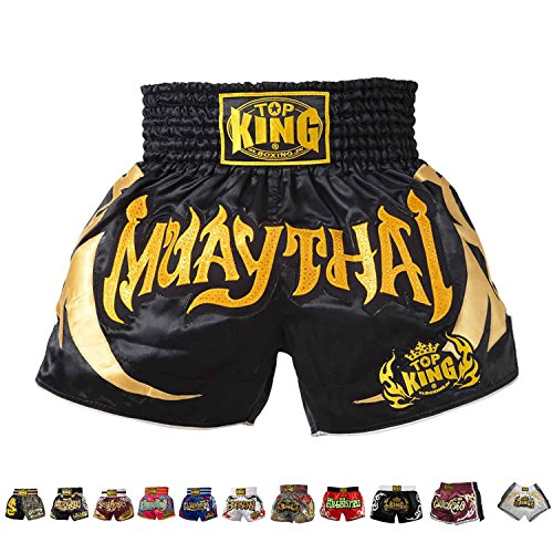 KINGTOP Top King Boxing Muay Thai Shorts Normal or Retro Style Size S, M, L, XL, 3L, 4L (67 - Black/Gold,S)
