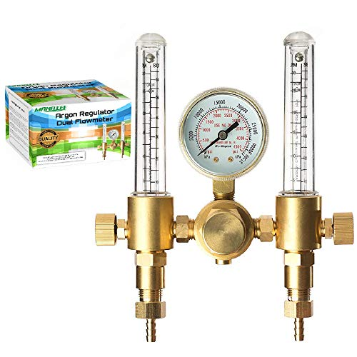 """Argon Regulator Dual Co2 Flowmeter by Manatee for TIG MIG Welder Gas and backpurge 60 SFCH - CGA 580 inlet connection and 5/8"""" x 18RH outlet fitting - Accurate Gas Metering Delivery System"""