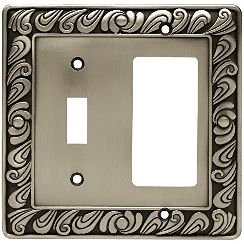 Franklin Brass 64052 Paisley Single Toggle Switch/Decorator Wall Plate/Switch Plate/Cover, Brushed Satin Pewter