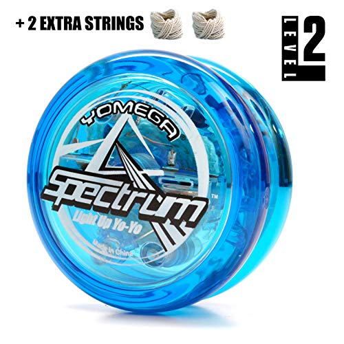 Yomega Spectrum – Light up Fireball Transaxle YoYo with LED Lights for Intermediate, Advanced and Pro Level String Trick Play + Extra 2 Strings & 3 Month Warranty (Blue) by Yomega (Image #1)