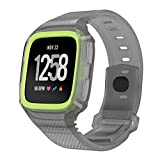 Cumeou Compatible Fitbit Versa Bands with Case, TPU Replacement Band Bracelet Strap Wristband with Shock-Proof and Shatter-Resistant Protective Case for Fitbit Versa Smart Watch