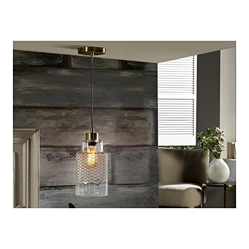 Schuller Spain 371871I4L Traditional Brass Hanging Ceiling Light Pendant Black 1 Light Dining Room, Living Room, Hallway Glass Jar Shade | ideas4lighting by Schuller