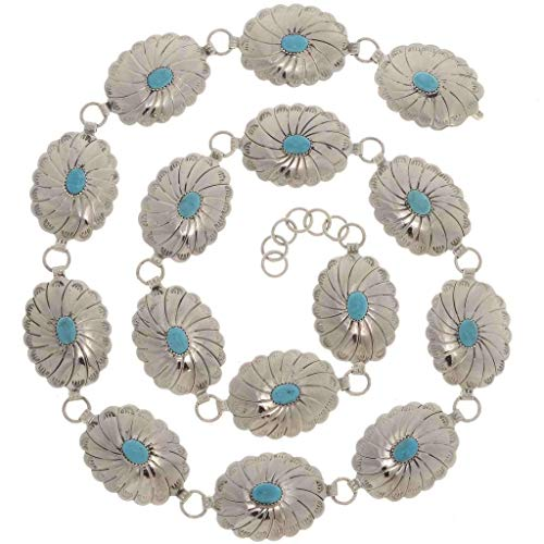 Turquoise Link Concho Belt Native American Silver 0316
